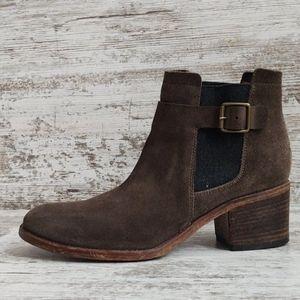 Sz38.5 Alberto Fermani Khaki Suede Leather Boots